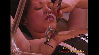 Hot brunette slut gets fisted unconnected with her kinky dominatrix