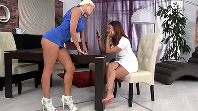 Bestfriends rate lesbian anal with their new monster dong dildo