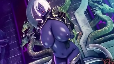 dark elf gets fuck by all monster