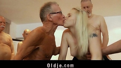 Seven old admass team fuck fucking blonde secretary DP and crazy facials