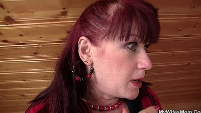 Brunette mom-in-law in nylons riding after toying