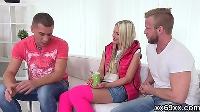 Tramp assists with hymen influential and poking of fresh teen