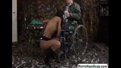 Disabled grandpa gets lucky with X-rated brunette