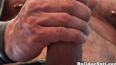 Muscular leather submit to pulling his hard weasel words