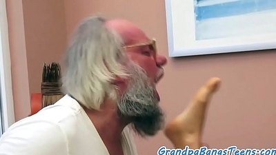 Teen pussy creampied by oldguy