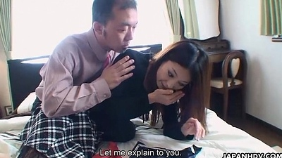 Oriental bitch getting the brush face sperm wiped