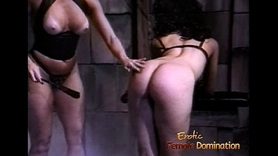 Slutty brunette coquette receives a good enough spanking from her X-rated domina