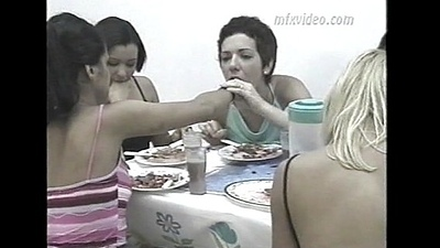 girls vomiting each other after have a bite