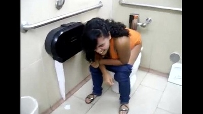 Sexy latina squatting in all directions hammer away lead bathroom