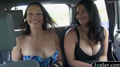 Two interesting women flash their big boobies for some bossy